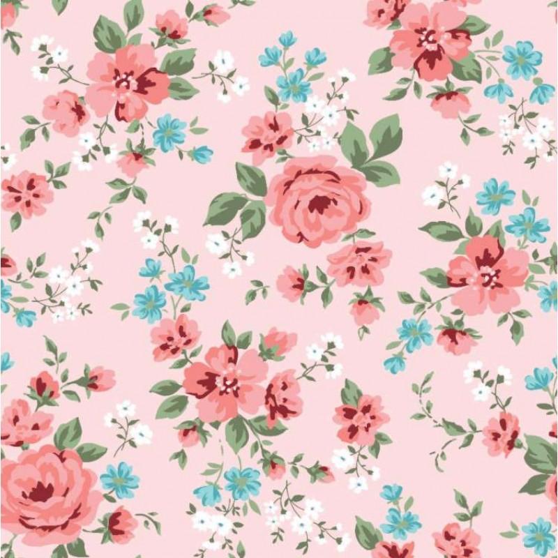 Tecido Tricoline - Ramos de Flores Romantic - 100% Algodão - 1,50m largura - Variante 2