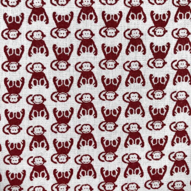 Tecido Tricoline em Promoção - Macaquinho - 100% Algodão - Vermelho
