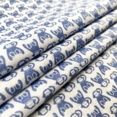 Tecido Tricoline em Promoção - Macaquinho - 100% Algodão - Azul
