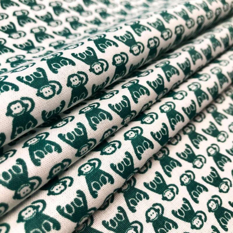 Tecido Tricoline em Promoção - Macaquinho - 100% Algodão - Verde