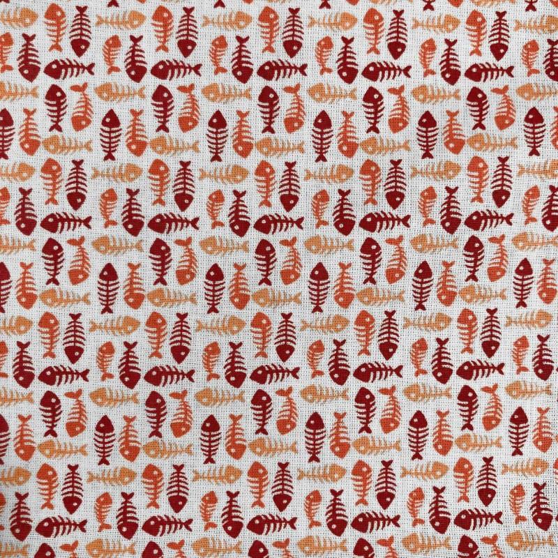 Tecido Tricoline em Promoção - Peixinho - 100% Algodão - Vermelho