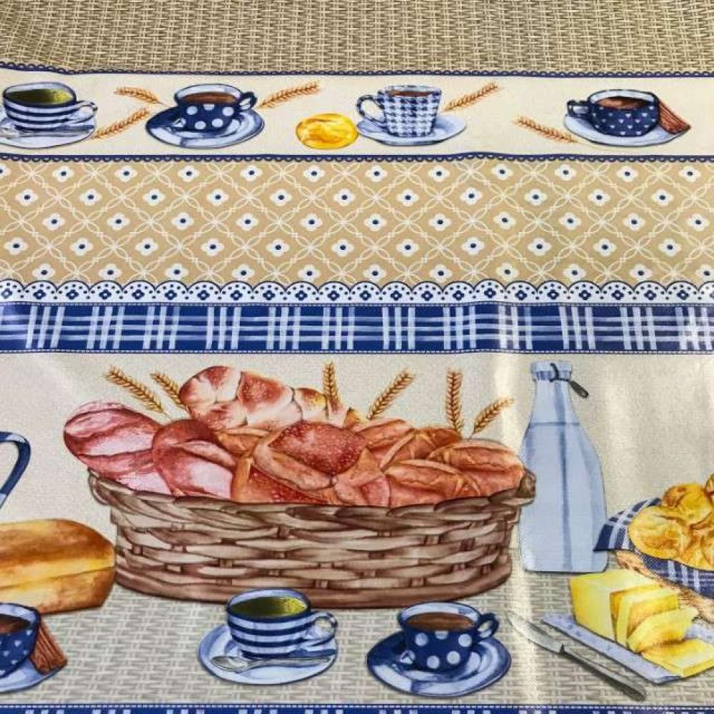 Toalha Plástica - Café Colonial (Barrado) - 100% Polipropileno - 1,40m Largura - Cor unica