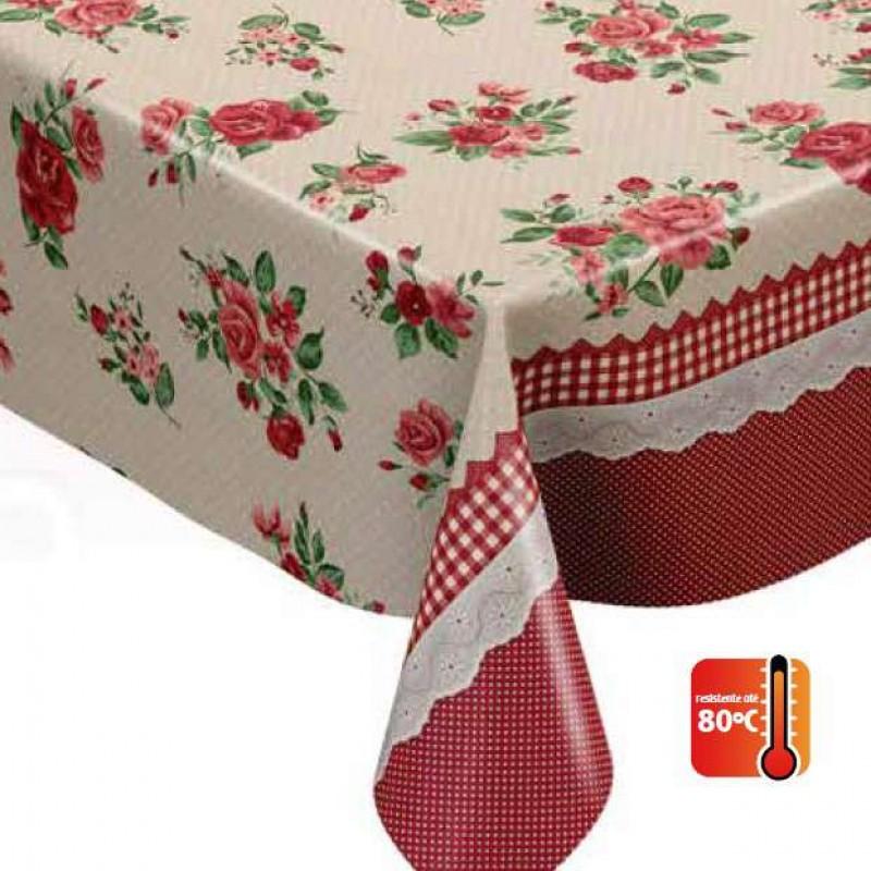 Toalha Plástica - Sofia Vermelha (Barrado) - 100% Polipropileno - 1,40m Largura - Cor unica