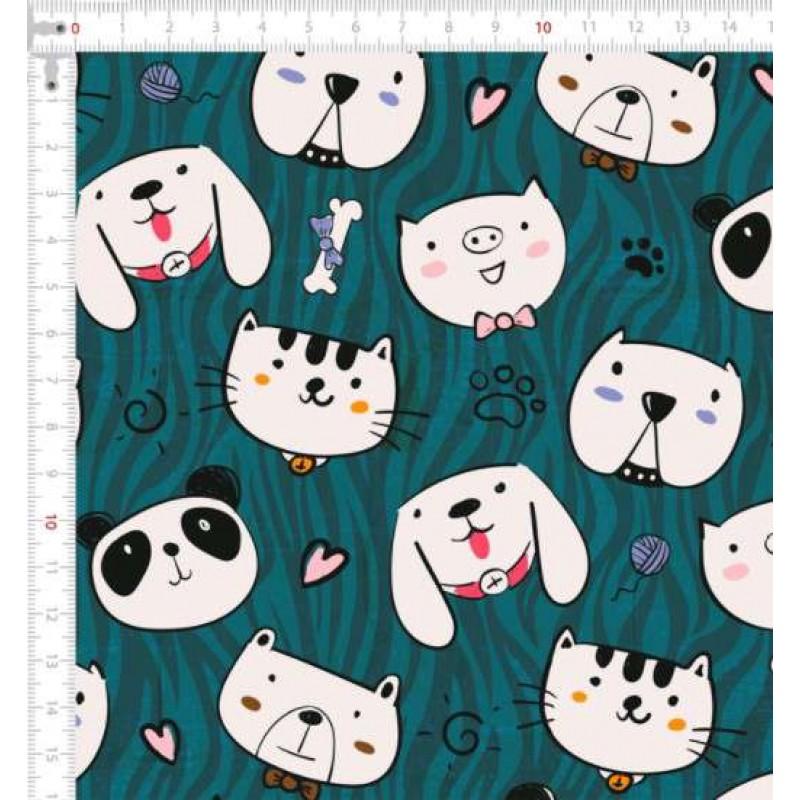 Tricoline Digital - Animais Panda Dog - 100% Algodão - Variante 1