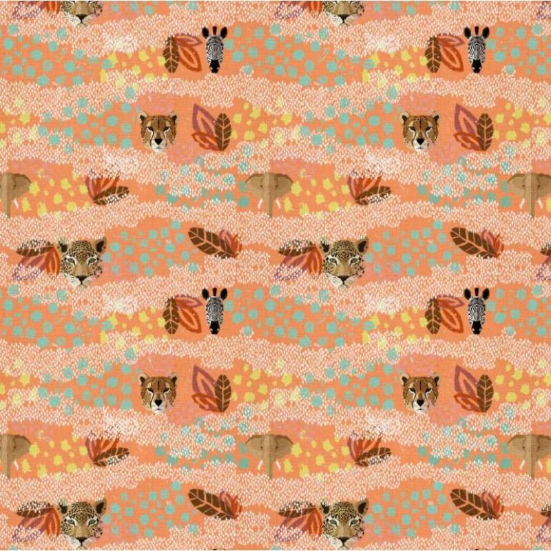 Tricoline Digital - Animais Safari - 100% Algodão - Variante 1