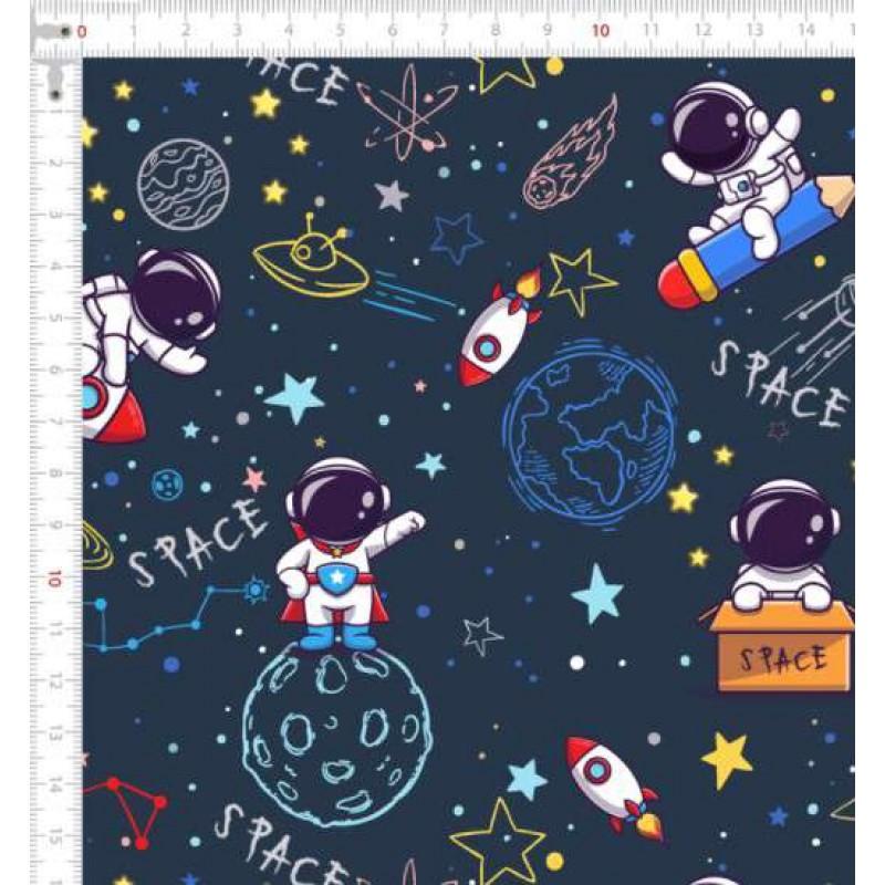 Tricoline Digital - Astronauta Espaço - 100% Algodão - Variante 1