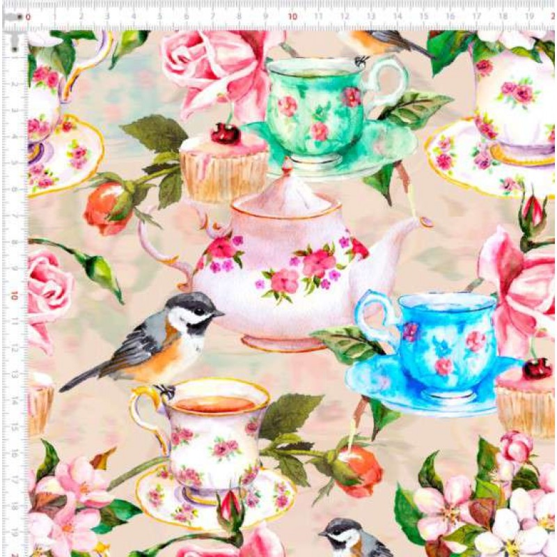 Tricoline Digital - Chá Romantique - 100% Algodão - Variante 1