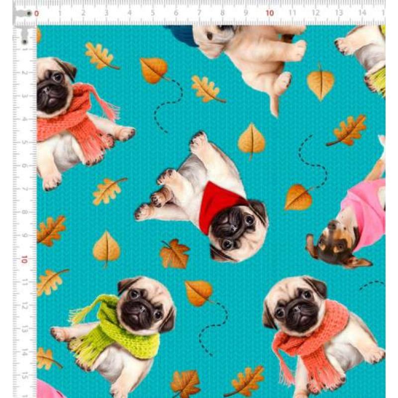 Tricoline Digital - Dogs Inverno - 100% Algodão - Variante 1