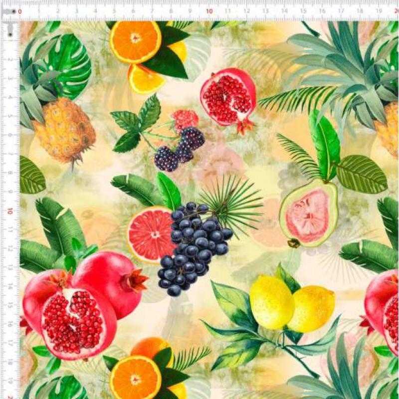 Tricoline Digital - Frutas Tropicais - 100% Algodão - Variante 1