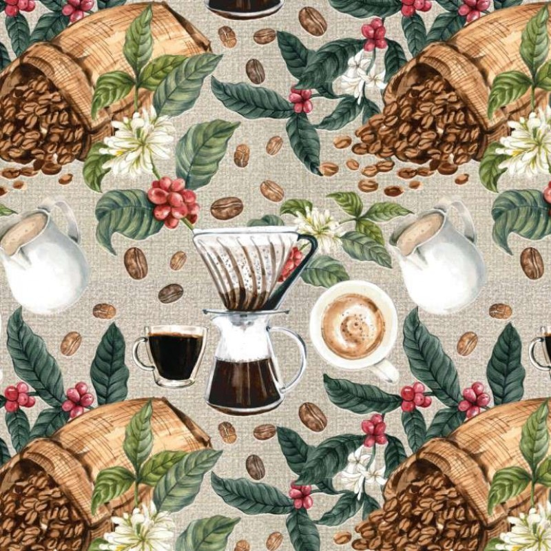 Tricoline Digital - Grãos de Café - 100% Algodão - Variante 1