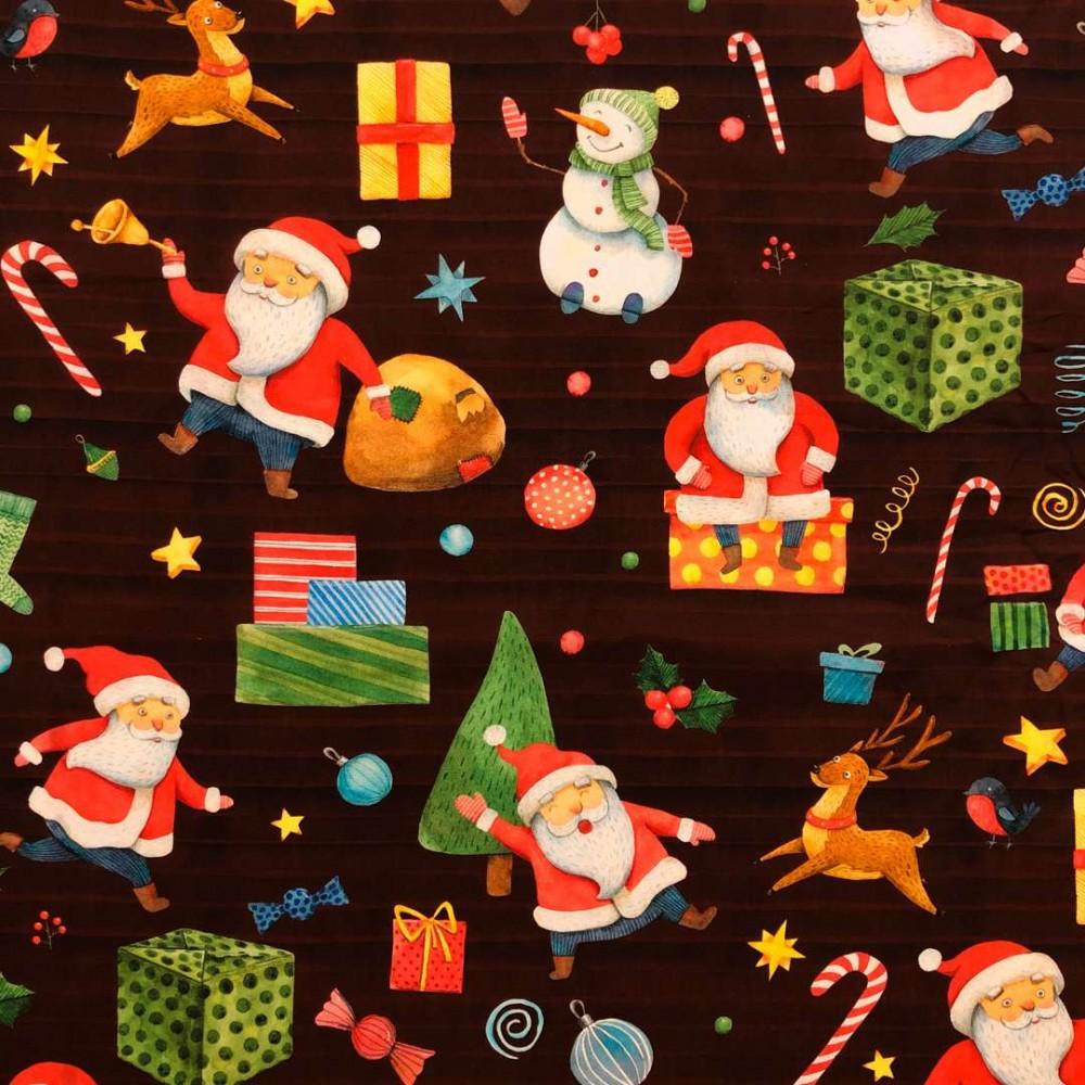 Tricoline Digital - Presentes de Natal - 100% Algodão - Variante 1
