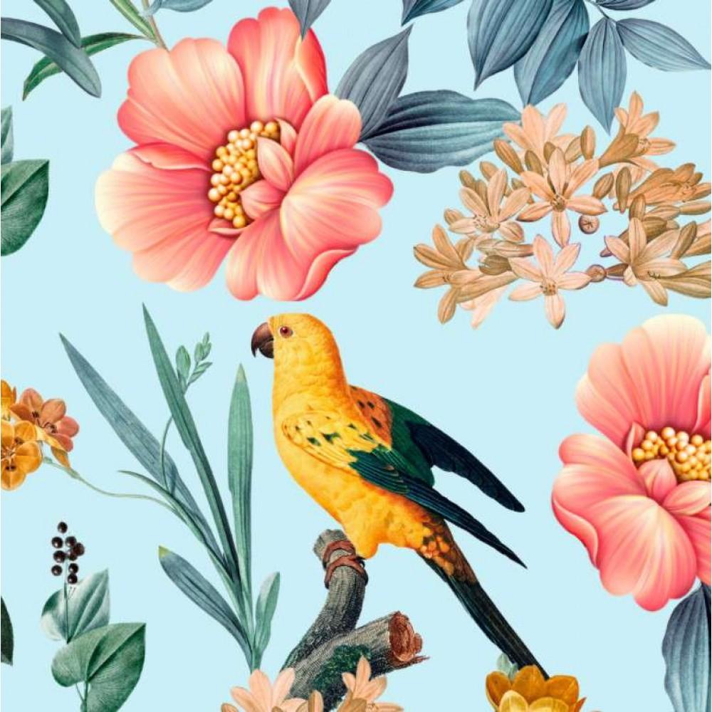 Tricoline Digital - Pássaro Amarelo - 100% Algodão - Variante 1