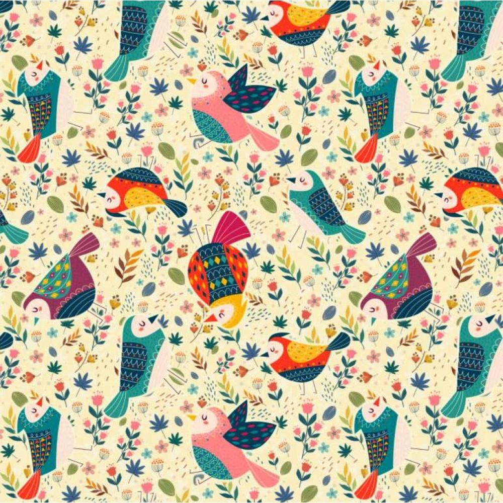 Tricoline Digital - Pássaros e Ramos - 100% Algodão - Variante 1