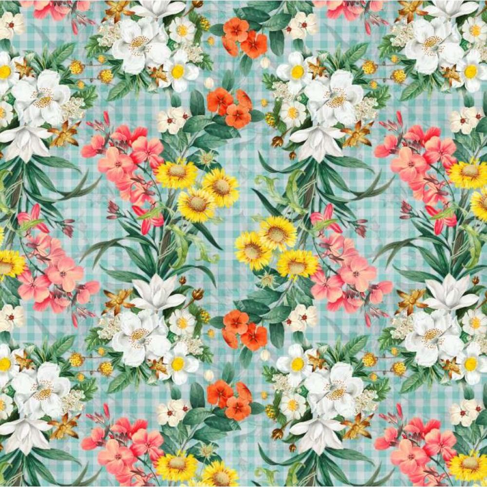 Tricoline Digital - Ramos Florais - 100% Algodão - Variante 1