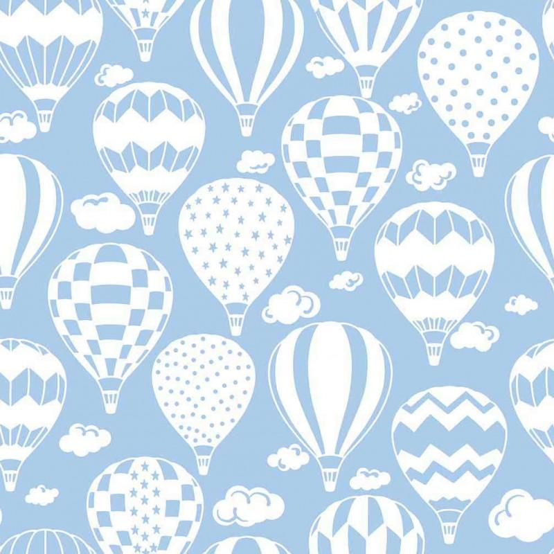 Tricoline Estampada - Balão Azul Bebê - 100% Algodão - 1,50m Largura - Variante 1