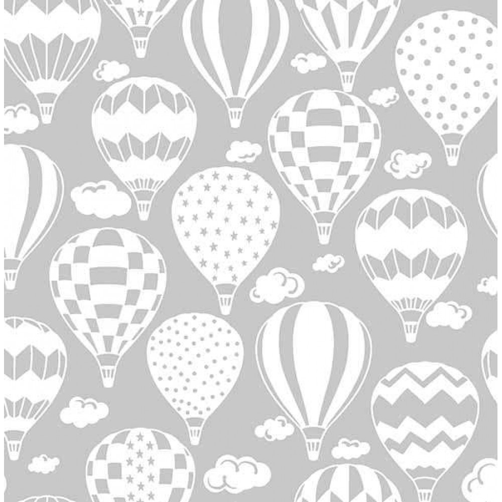 Tricoline Estampada - Balão Cinza - 100% Algodão - 1,50m Largura - Variante 1