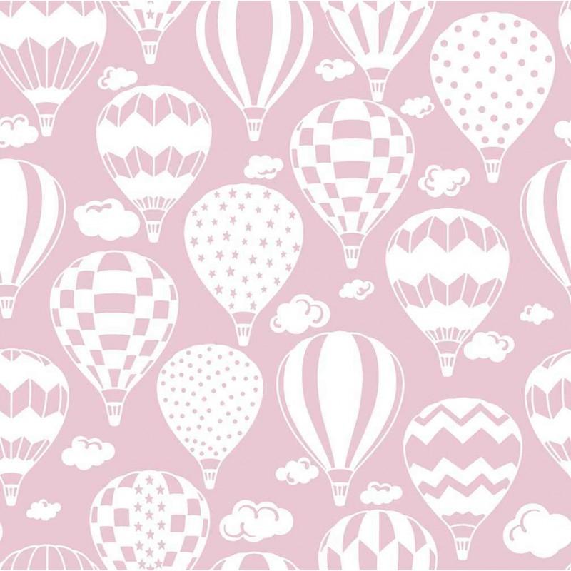 Tricoline Estampada - Balão Rosa Bebê - 100% Algodão - 1,50m Largura - Variante 1