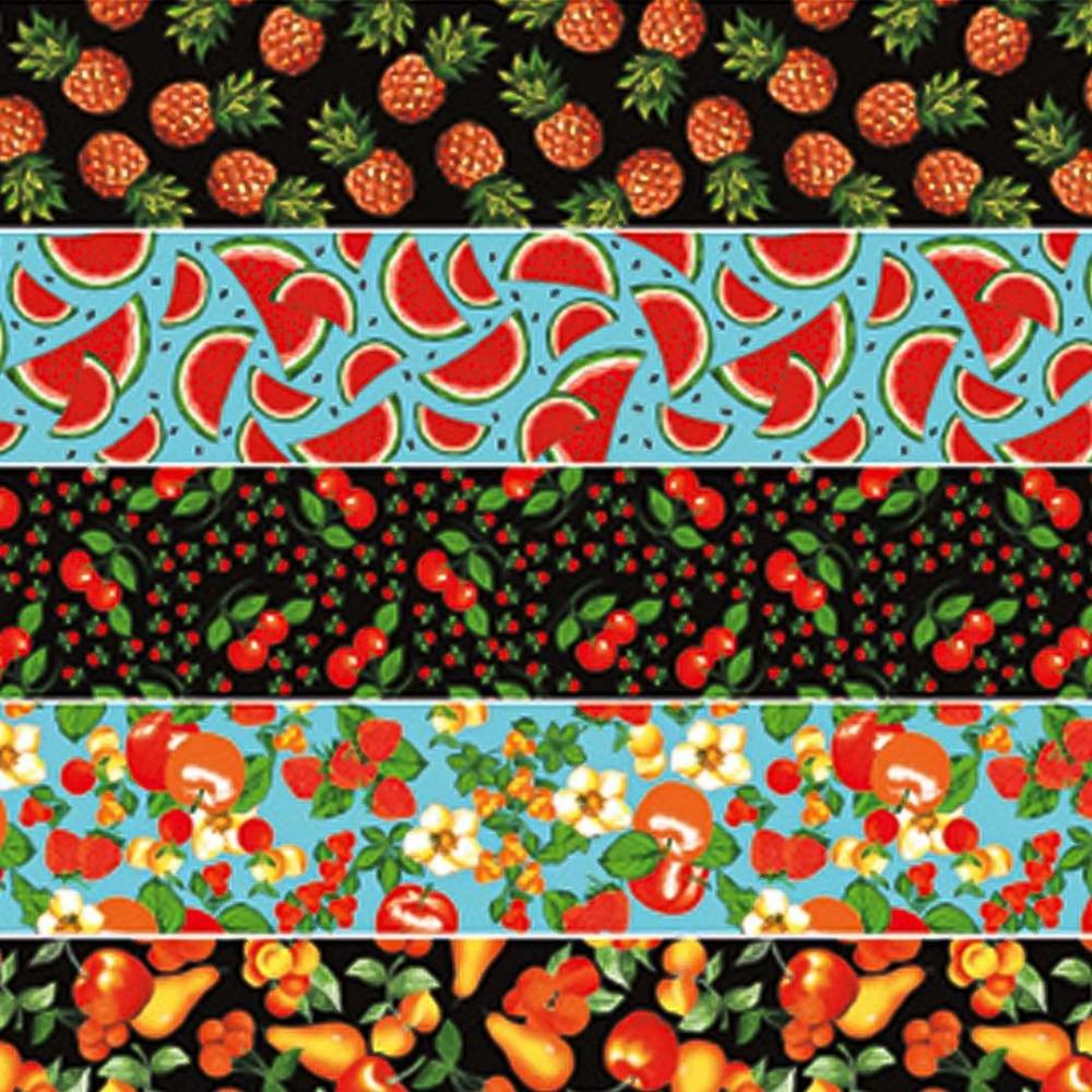 Tricoline Estampada - Barrado Frutas - 100% Algodão - 1,50m Largura - Variante 1