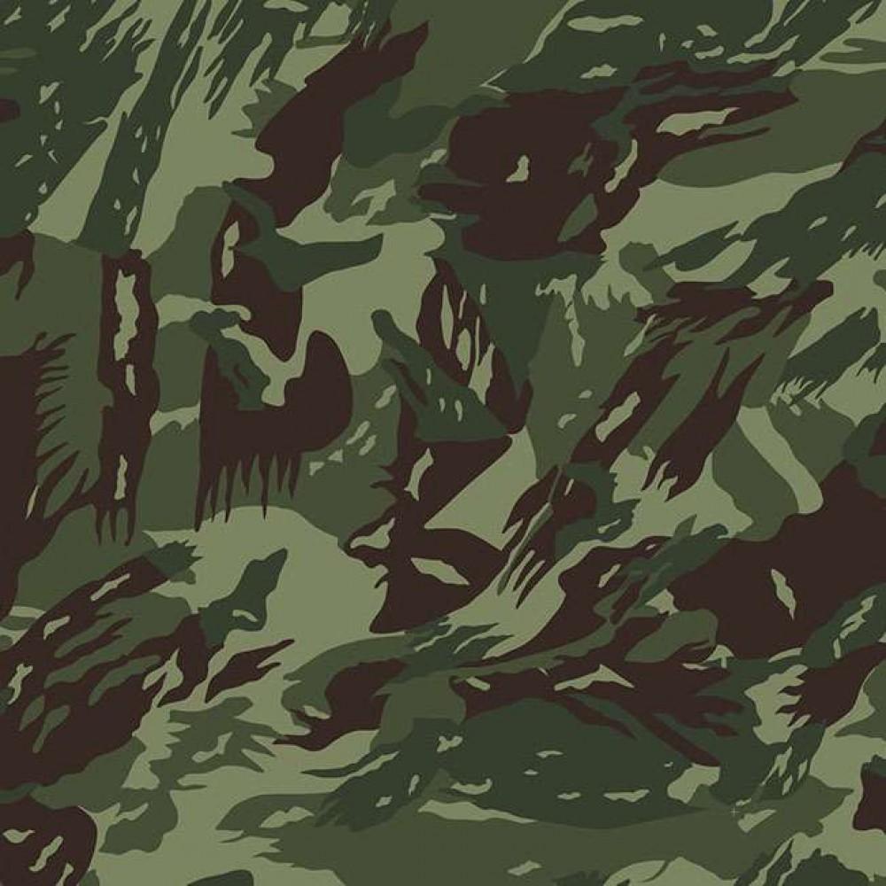 Tricoline Estampada - Camuflado Verde - 100% Algodão - 1,50m Largura - Variante 1