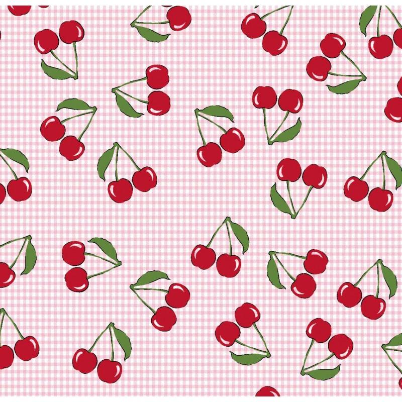 Tricoline Estampada - Cereja Fundo Rosa - 100% Algodão - 1,50m Largura - Variante 1