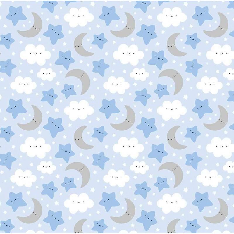 Tricoline Estampada - Céu Azul Bebê - 100% Algodão - 1,50m Largura - Variante 1
