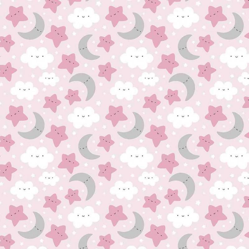 Tricoline Estampada - Céu Rosa Bebê - 100% Algodão - 1,50m Largura - Variante 1