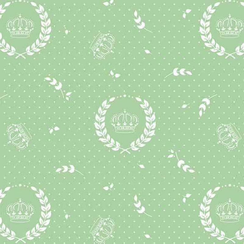 Tricoline Estampada - Coroa Grande Verde - 100% Algodão - 1,50m Largura - Variante 1