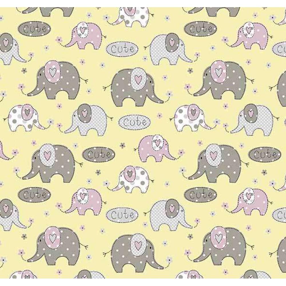 Tricoline Estampada - Elefante Cute Amarelo- 100% Algodão - 1,50m Largura - Variante 1