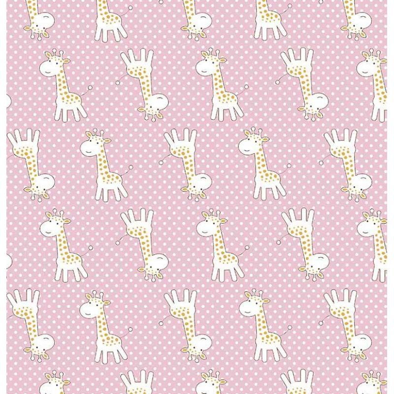 Tricoline Estampada - Girafinha Rosa Bebe - 100% Algodão - 1,50m Largura - Variante 1