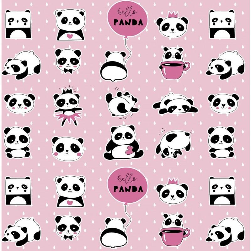 Tricoline Estampada - Hello Panda - 100% Algodão - 1,50m Largura - Variante 1