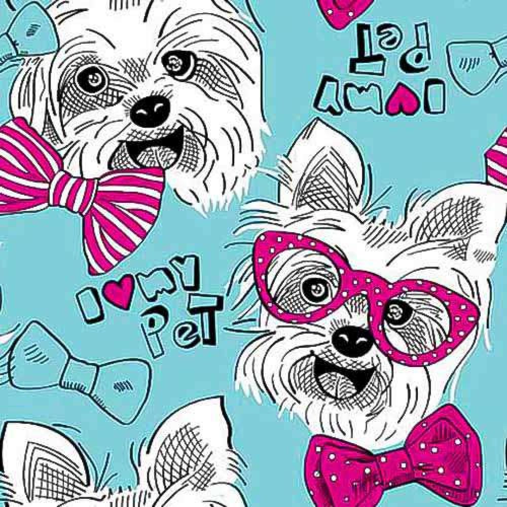 Tricoline Estampada - I Love My Pet- 100% Algodão - 1,50m Largura - Variante 1