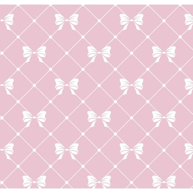 Tricoline Estampada - Laços Rosa Bebê - 100% Algodão - 1,50m Largura - Variante 1