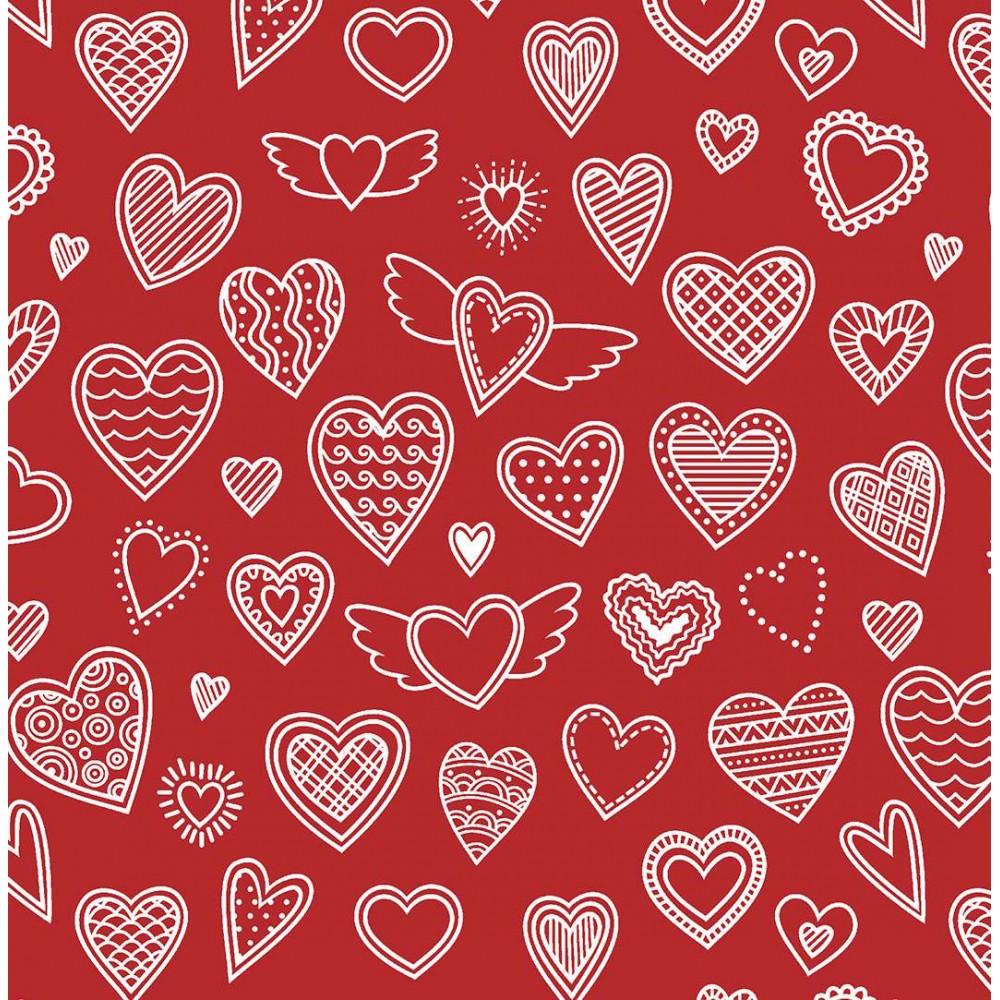 Tricoline Estampada - Love Vermelho - 100% Algodão - 1,50m Largura - Variante 1