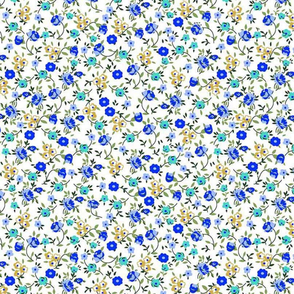 Tricoline Estampada - Mini Flores Azuis - 100% Algodão - 1,50m Largura - Variante 1