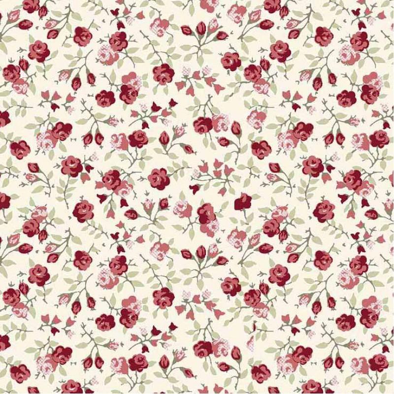 Tricoline Estampada - Mini Rosas - 100% Algodão - 1,50m Largura - Variante 1