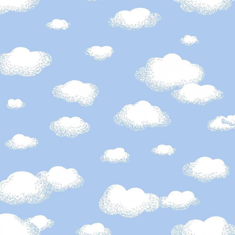 Tricoline Estampada - Nuvem Azul Bebê - 100% Algodão - 1,50m Lagura - Variante 1