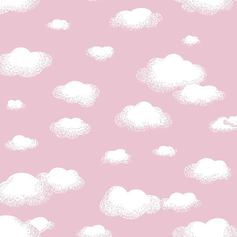 Tricoline Estampada - Nuvem Rosa Bebê - 100% Algodão - 1,50m largura - Variante 1