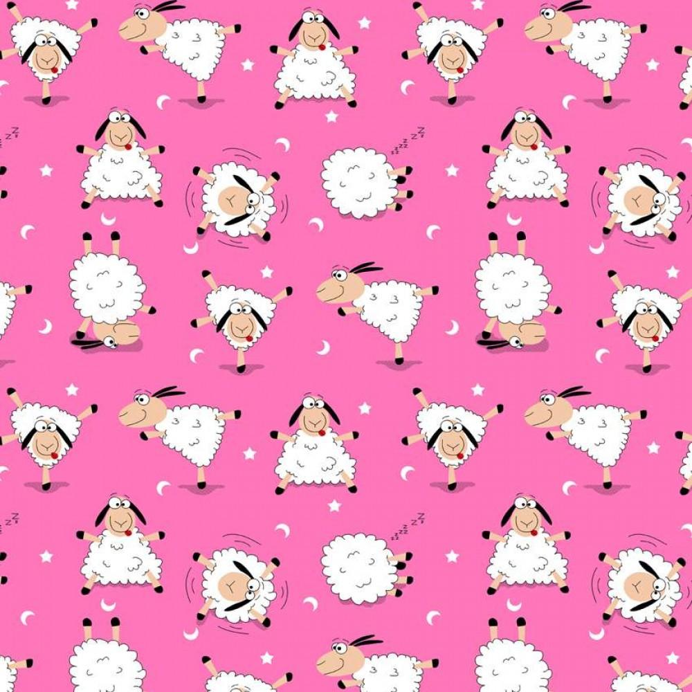 Tricoline Estampada - Ovelhinha Pink - 100% Algodão - 1,50m Largura - Variante 1