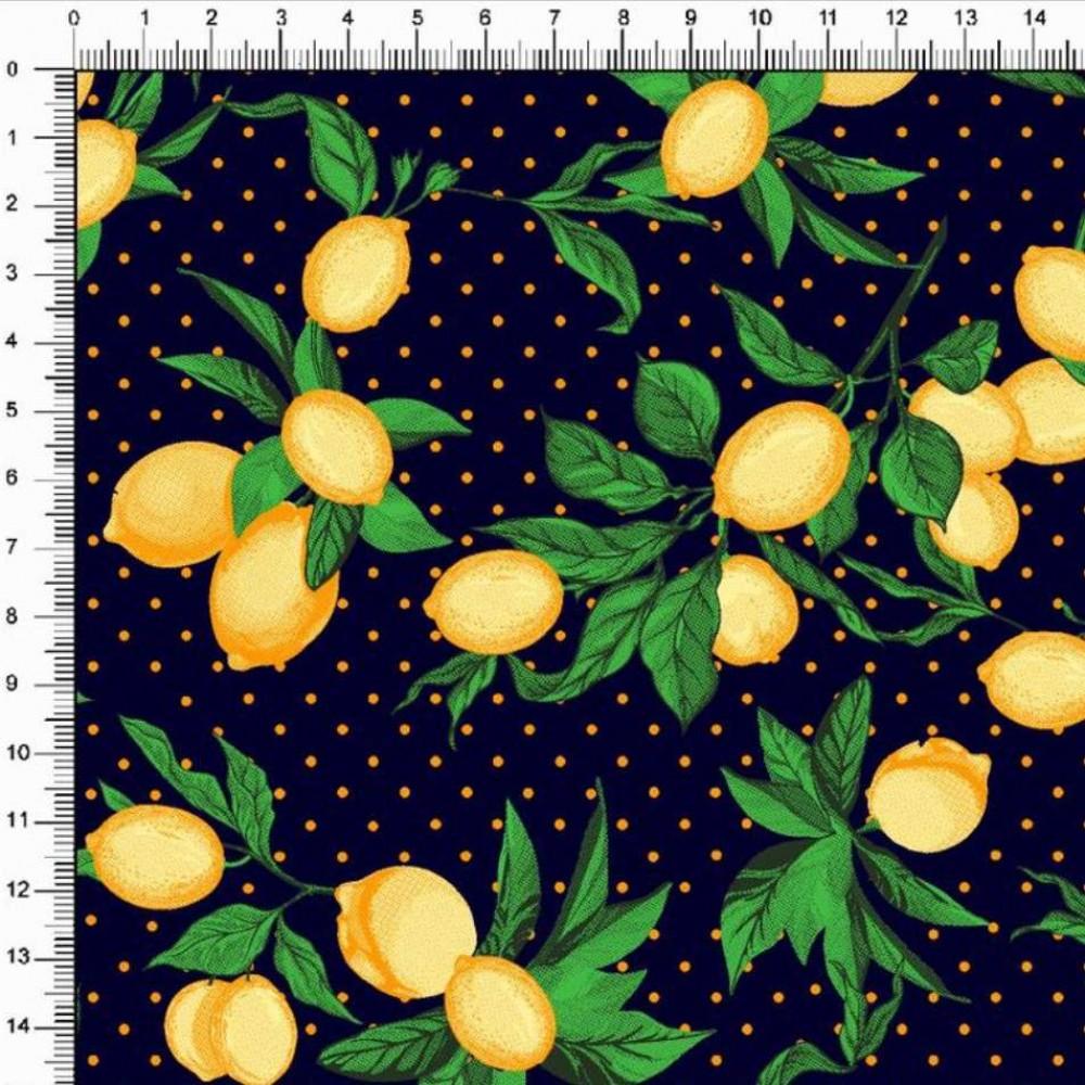 Tricoline Estampada - Ramos Limão Siciliano - 100% Algodão - 1,50m largura - Variante 2