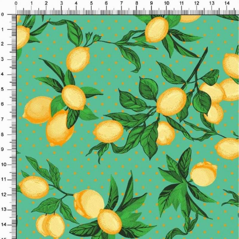 Tricoline Estampada - Ramos Limão Siciliano - 100% Algodão - 1,50m largura - Variante 3