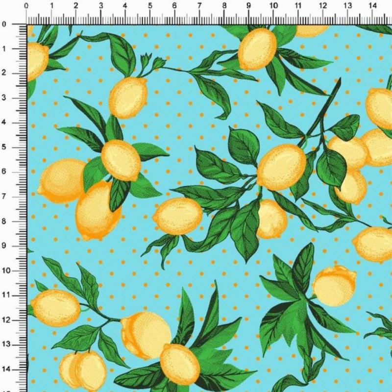 Tricoline Estampada - Ramos Limão Siciliano - 100% Algodão - 1,50m largura - Variante 5