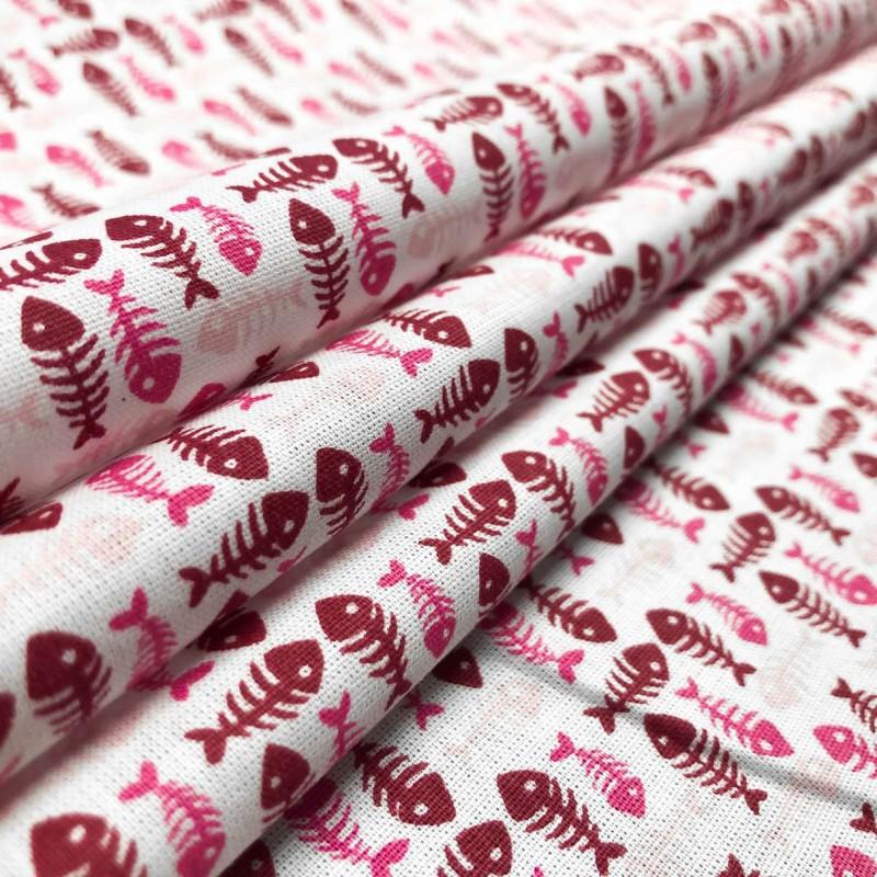 Tricoline Estampada - Peixinho - Promoção - Rosa