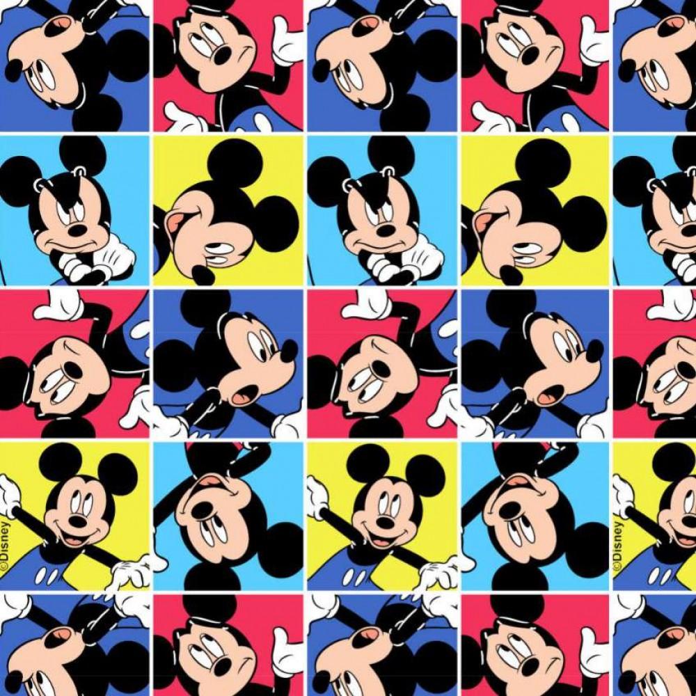 Tricoline Fernando Maluhy - Mickey Mouse Quadriculado - 100% Algodão - C01