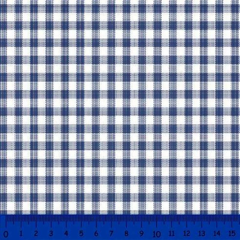 Tricoline Xadrez Fio Tinto - Grande - 100% Algodão - Azul marinho