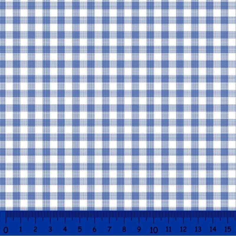 Tricoline Xadrez Fio Tinto - Grande - 100% Algodão - Azul royal