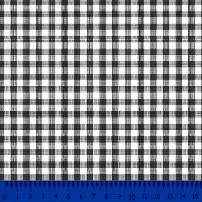 Tricoline Xadrez Fio Tinto - Grande - 100% Algodão - Preto
