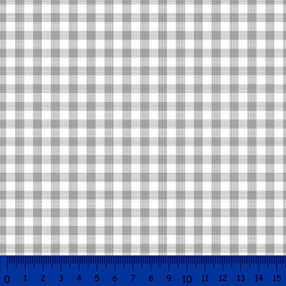 Tricoline Xadrez Fio Tinto - Grande - 100% Algodão - Cinza
