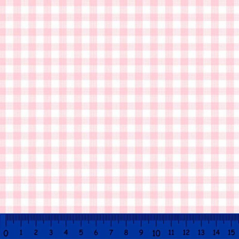 Tricoline Xadrez Fio Tinto - Grande - 100% Algodão - Rosa bebê
