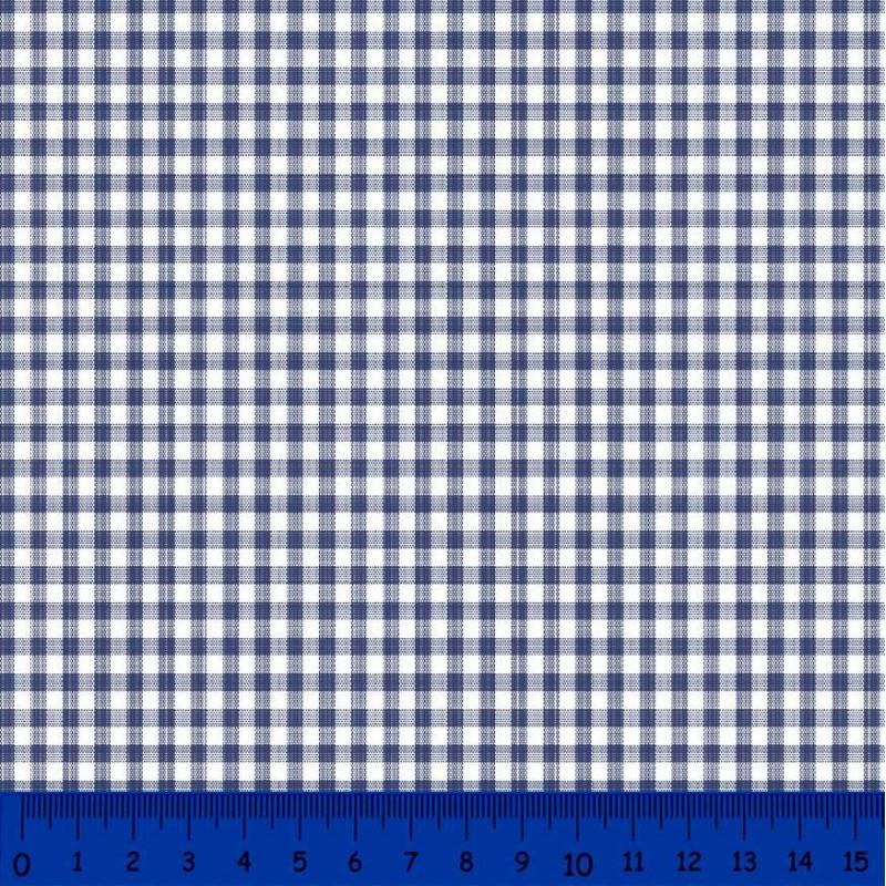 Tricoline Xadrez Fio Tinto - Média - 100% Algodão - Azul marinho