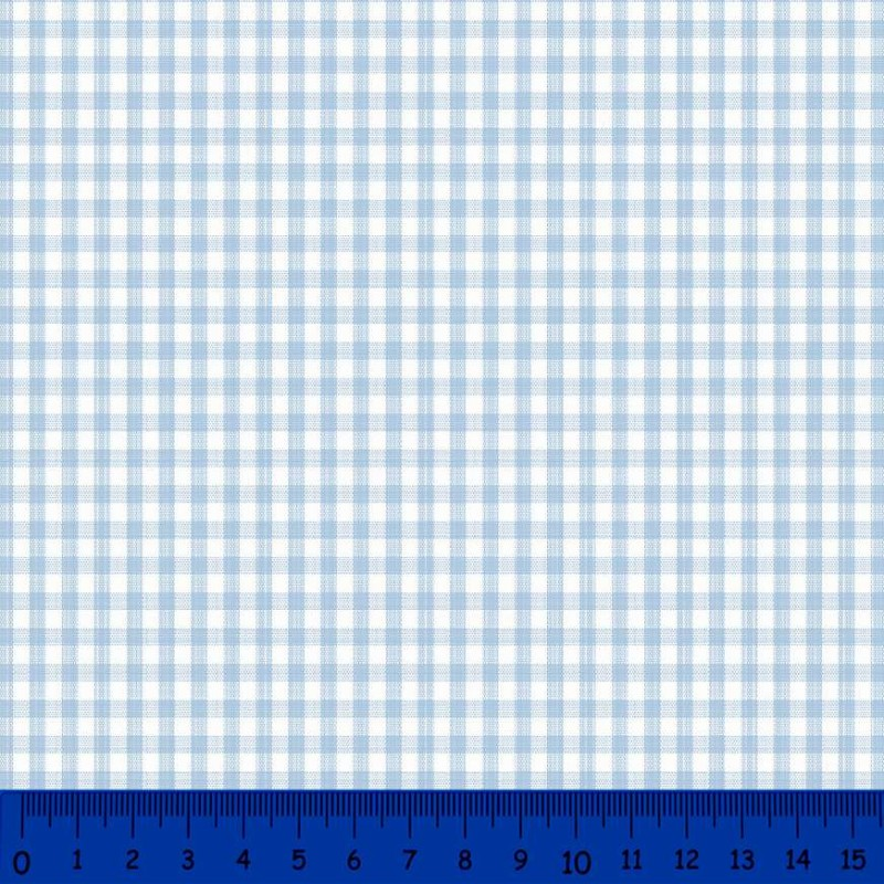 Tricoline Xadrez Fio Tinto - Média - 100% Algodão - Azul bebê